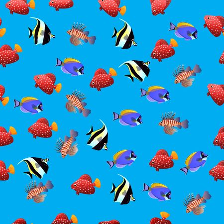 moorish idol: Very high quality original trendy vector seamless pattern with Volitan Lionfish. Pterois volitans.