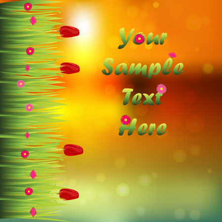 Very high quality original trendy illustration of grass with flowers, tulip frame for text or card on sunset background