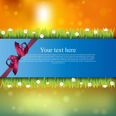 Very high quality original trendy banner with grass, flowers, chamomile and realistic ribbon on sunset background