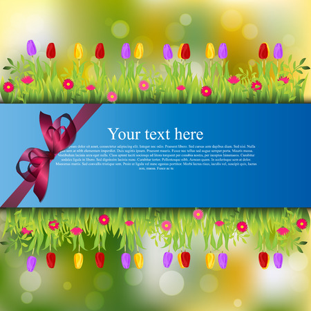 tulips in green grass: Very high quality original trendy banner with grass, flowers, chamomile, Tulip and realistic ribbon