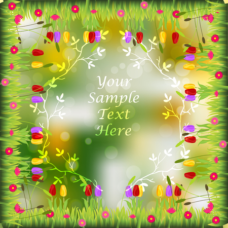 Very high quality original trendy frame with grass, flowers, tulip, chamomile on sunset background