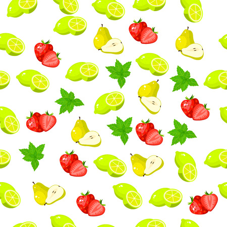 Very high quality original trendy seamless pattern with fresh strawberry and slice Illustration