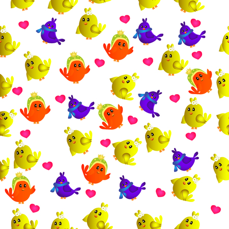 High quality original trendy vector seamless pattern with cute colorful birds