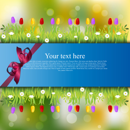grass blades: Very high quality original trendy banner with grass, flowers, chamomile, Tulip and realistic ribbon