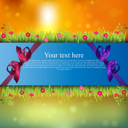 grass blades: Very high quality original trendy banner with grass, flowers, chamomile and realistic ribbon on sunset background