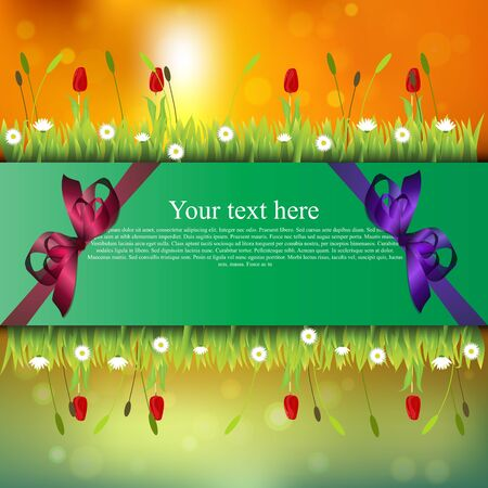 Very high quality original trendy banner with grass, flowers, chamomile, Tulip and realistic ribbon on sunset background Illustration
