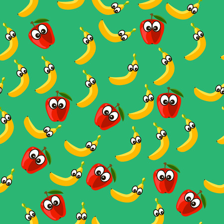 Very high quality original trendy vector seamless pattern with a banana and apple character, personage or face