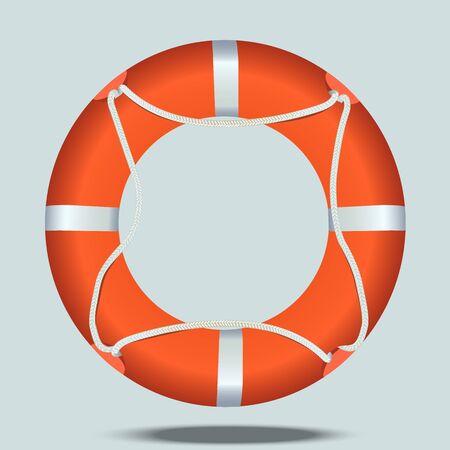 Very high quality original trendy realistic vector illustration of lifebelt or lifebuoy Illustration