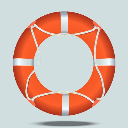 Very high quality original trendy realistic vector illustration of lifebelt or lifebuoy Illusztráció