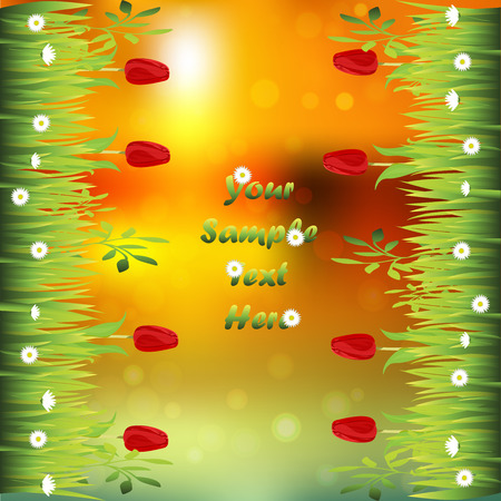 tulips in green grass: Very high quality original trendy illustration of grass with flowers, tulip frame for text or card on sunset background