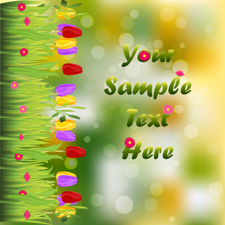 Very high quality original trendy illustration of grass with flowers, tulip frame for text or card Illustration
