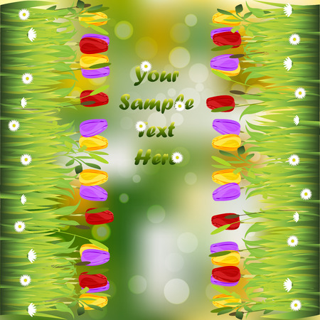 tulips in green grass: Very high quality original trendy illustration of grass with flowers, tulip frame for text or card Illustration