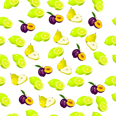 Very high quality original trendy seamless pattern with fresh plum and slice Illustration