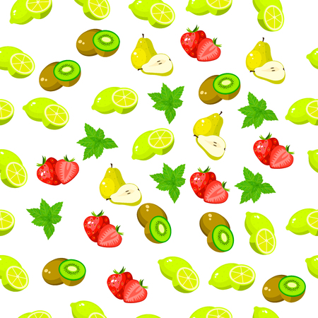 Very high quality original trendy seamless pattern with fresh kiwi and slice Illustration