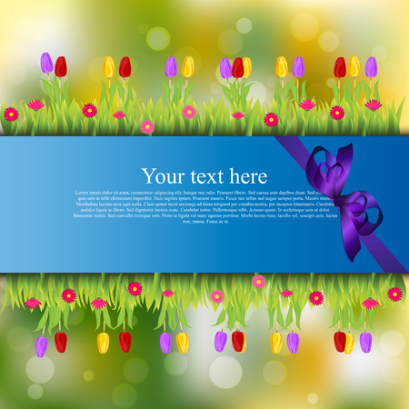 Very high quality original trendy banner with grass, flowers, chamomile, Tulip and realistic ribbon