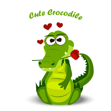 alligator isolated: High quality original trendy vector illustration of a cute crocodile or alligator with a rose