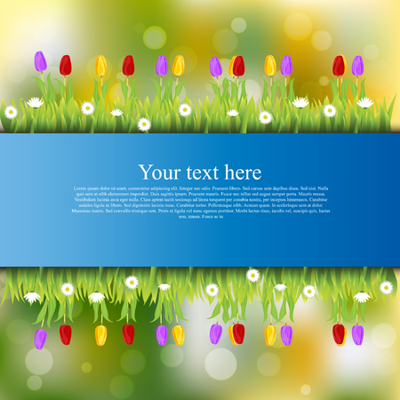 grass blades: Very high quality original trendy banner with grass, flowers, chamomile, Tulip