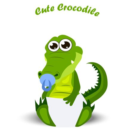 Very high quality original trendy illustration of a baby crocodile or alligator with nipple and diaper Illustration