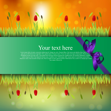 grass blades: banner with grass and flowers Illustration