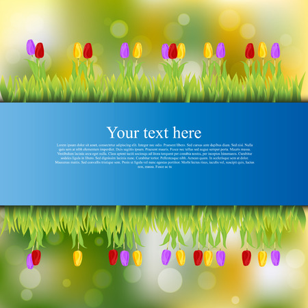 tulips in green grass: banner with grass and flowers Illustration