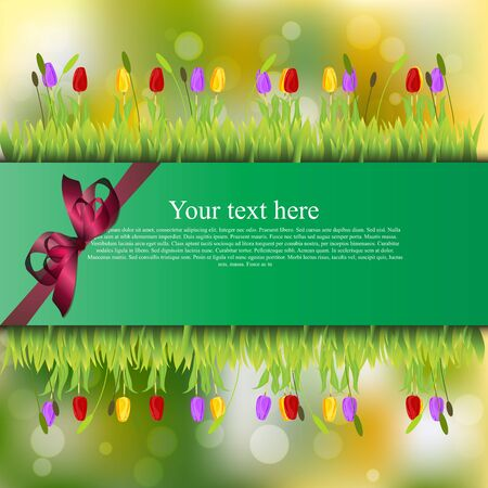 banner with grass and flowers Stock Photo