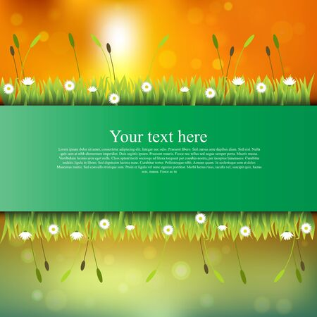 grass blades: banner with grass and flowers Stock Photo
