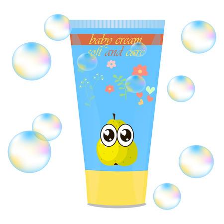 Baby cream tube with kids design Illustration