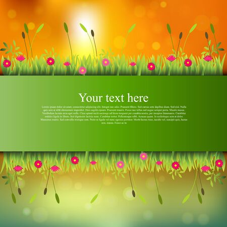 banner with grass and flowers Illustration