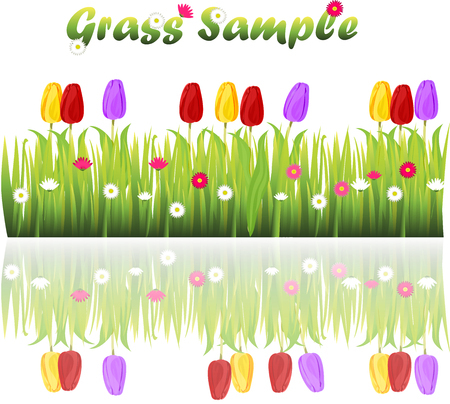 grass blades: grass with flowers Illustration