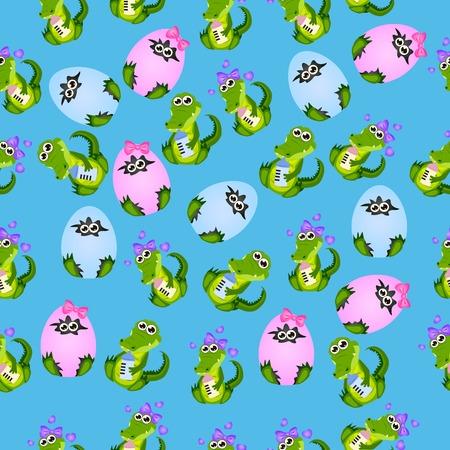 alligators: baby crocodile or alligator Illustration