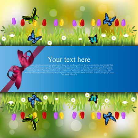 Very high quality original trendy banner with grass, chamomile, Tulip and butterfly and realistic ribbon
