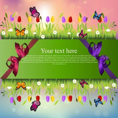 grass blades: Very high quality original trendy banner with grass, chamomile, Tulip and butterfly and realistic ribbon