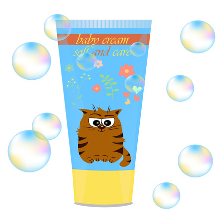 Baby cream tube with kids design Illustration
