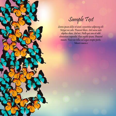 spring background with butterflies Stock Photo