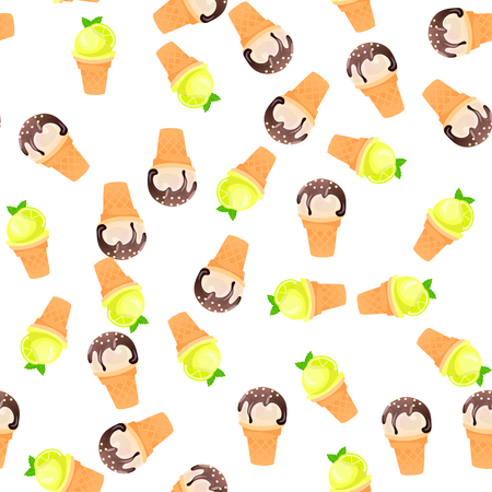 Very high quality original trendy vector seamless pattern with mojito ice cream Illustration