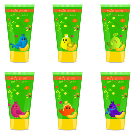 funny baby: Baby cream tube with kids design Illustration
