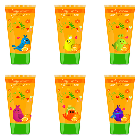 child protection: High quality original trendy vector Baby cream tube with kids design and bird, orange illustration