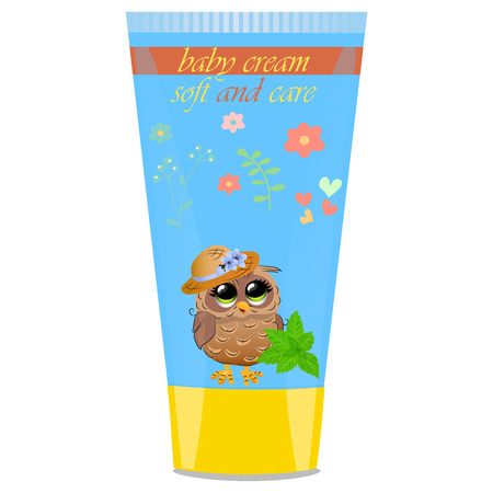 funny baby: High quality original trendy vector mint Baby cream tube with kids design and owl on floral background illustration
