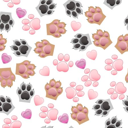 impression: cat and dog paw print with claws