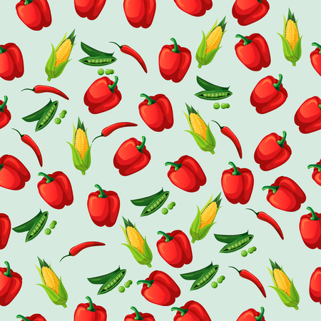 Very high quality original trendy vector seamless pattern with green peas pods and red pepper, corn. Illustration