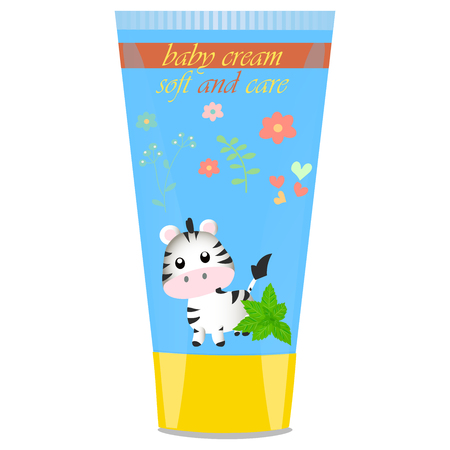 child protection: High quality original trendy vector Baby cream tube with kids design and zebra illustration