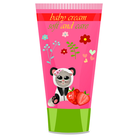 funny baby: High quality original trendy vector Baby cream tube with kids design and cat in panda suit, strawberry illustration
