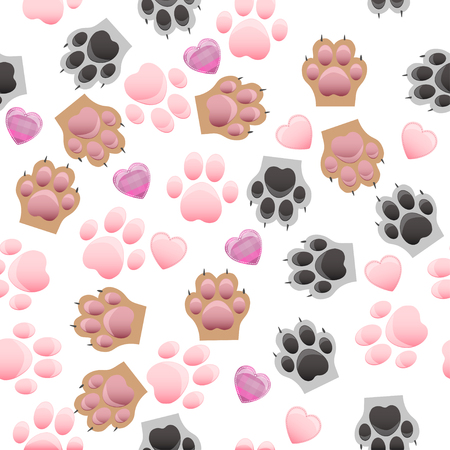 original trendy vector seamless pattern with cats and dogs paw print with claws Illustration