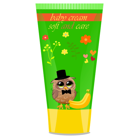 funny baby: High quality original trendy vector banana Baby cream tube with kids design and owl on floral background illustration Illustration