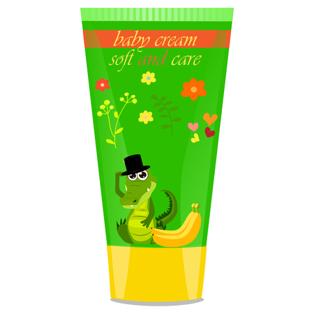 funny baby: High quality original trendy vector banana Baby cream tube with kids design and crocodile or alligator on floral background illustration Illustration
