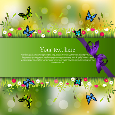 grass blades: Banner with grass, butterflies and flowers