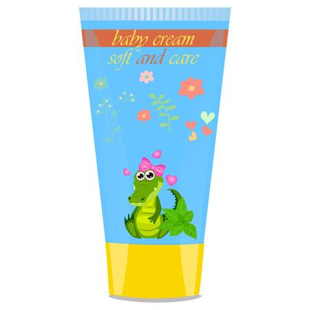 sunblock: Baby cream tube with kids design Illustration