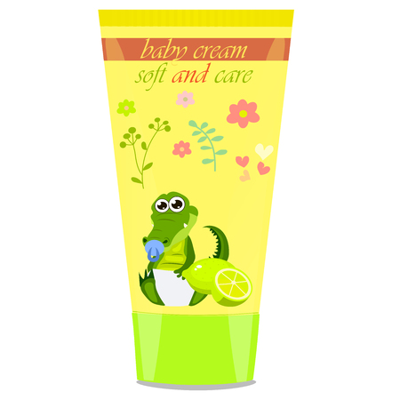 child protection: Baby cream tube with kids design Illustration