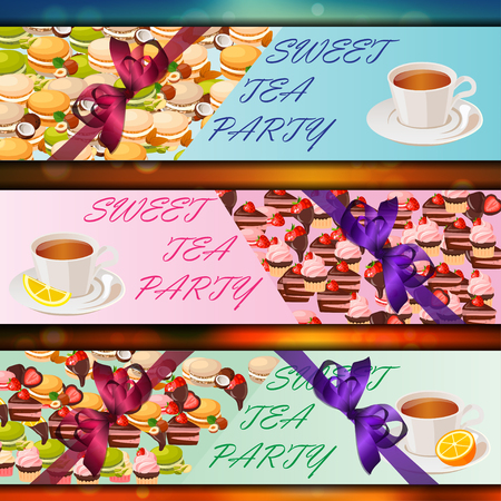 chamomile tea: Banner set with sweets