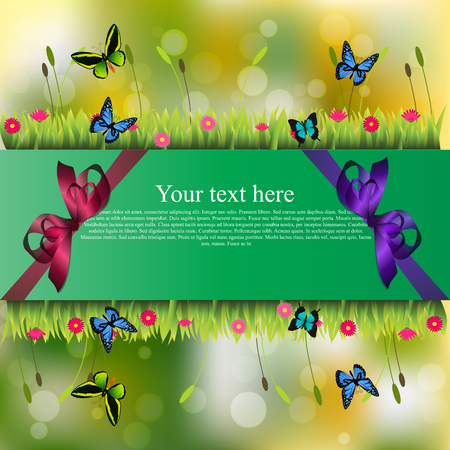 grass blades: Very high quality original trendy banner with grass, chamomile, butterfly and realistic ribbon